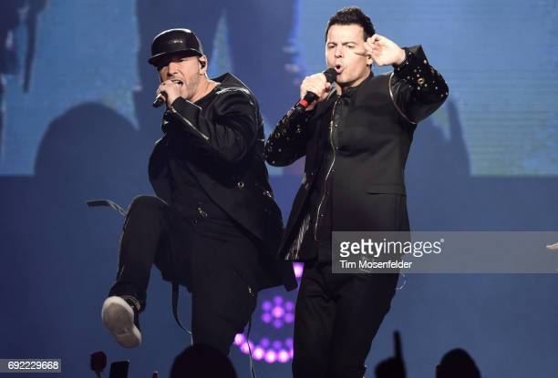 Donnie Wahlberg and Jordan Knight of New Kids on the Block perform during The Total Package Tour at Golden 1 Center on June 3 2017 in Sacramento...