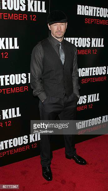 Donnie Wahlberg attends the New York premiere of 'Righteous Kill' at the Ziegfeld Theater on September 10 2008 in New York City