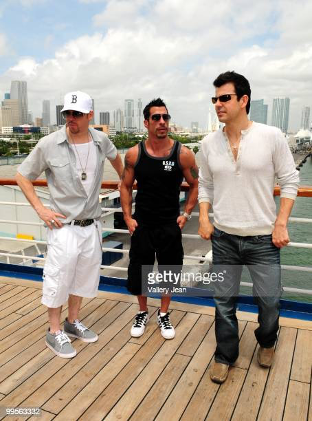 Donnie Wahlberg Danny Wood and Jordan Knight attend New Kids On The Block Concert Cruise Launch on May 14 2010 in Miami Beach Florida