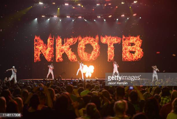 Donnie Wahlberg Danny Wood Joey McIntyre Jonathan Knight and Jordan Knight of the musical group New Kids On The Block perform at Bridgestone Arena on...