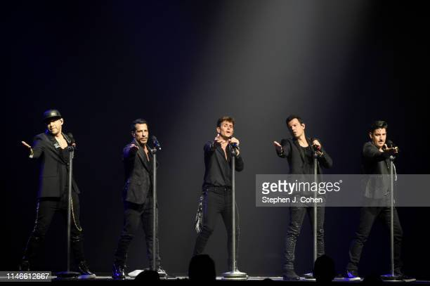 Donnie Wahlberg Danny Wood Joey McIntyre Jordon Knight and Jonathan Knight of New Kids On The Block performs at US Bank Arena on May 02 2019 in...