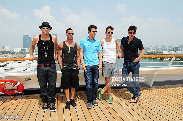 Donnie Wahlberg Danny Wood Jordan Knight Joey McIntyre and Jonathan Knight attend the Third NKOTB Cruise at Port of Miami Dodge Island on May 12 2011...