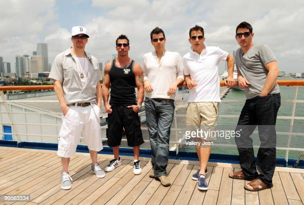 Donnie Wahlberg Danny Wood Jordan Knight Joey McIntyre and Jonathan Knight attend New Kids On The Block Concert Cruise Launch on May 14 2010 in Miami...