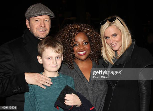Donnie Wahlberg Evan Asher Sherri Shepherd and Jenny McCarthy pose backstage at the musical Cinderella on Broadway at The Broadway Theater on...