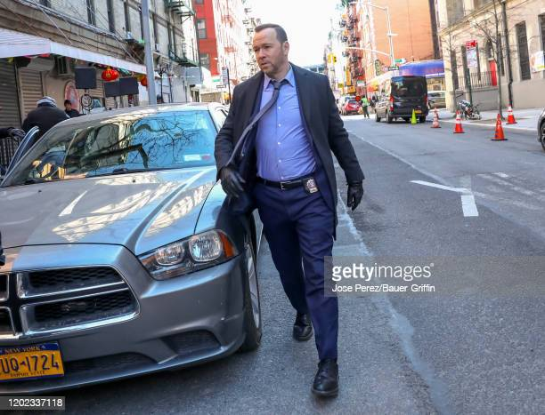 Donnie Wahlberg is seen on set of 'Blue Bloods' on February 21, 2020 in New York City.
