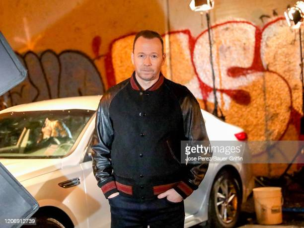 """Donnie Wahlberg is seen on the film set of TV series """"Bluebloods"""" on March 12, 2020 in New York City."""