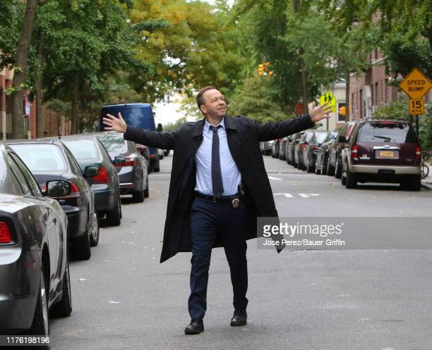 Donnie Wahlberg is seen on the set of 'Blue Bloods' on October 16 2019 in New York City