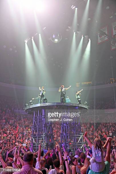 Donnie Wahlberg Joey McIntyre Jonathan Knight Jordan Knight and Danny Wood of New Kids On The Block performs at US Bank Arena on May 02 2019 in...