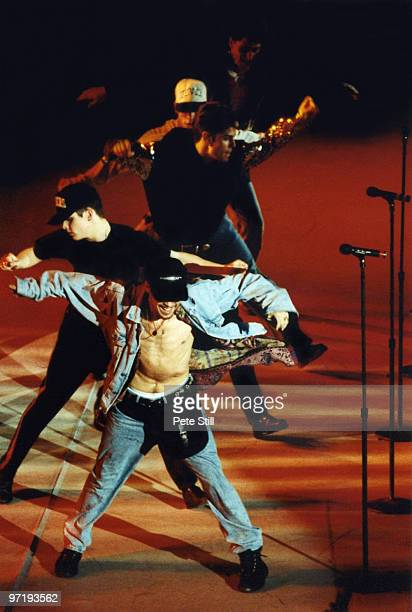 Donnie Wahlberg Joey McIntyre Jordan Knight Danny Wood and Jonathan Knight of New Kids On The Block perform on stage at Wembley Arena on December 5th...