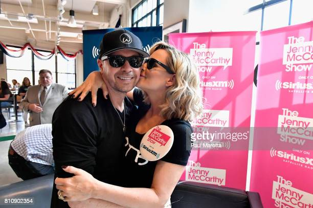 Donnie Wahlberg joins Jenny McCarthy as she hosts her SiriusXM Show backstage at Fenway Park in Boston before The New Kids On The Block Sold Out...