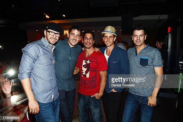 Donnie Wahlberg Jonathan Knight Danny Wood Joey McIntyre and Jordan Knight of New Kids On The Block host at Pure Nightclub at Caesars Palace on July...