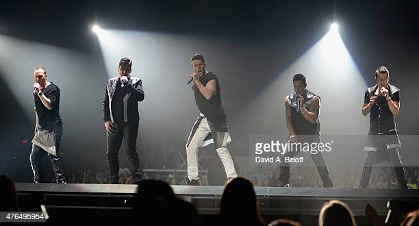 Donnie Wahlberg Jonathan Knight Joey McIntyre Danny Wood Jordan Knight of New Kids on the Block perform at Scope Arena on June 9 2015 in Norfolk...