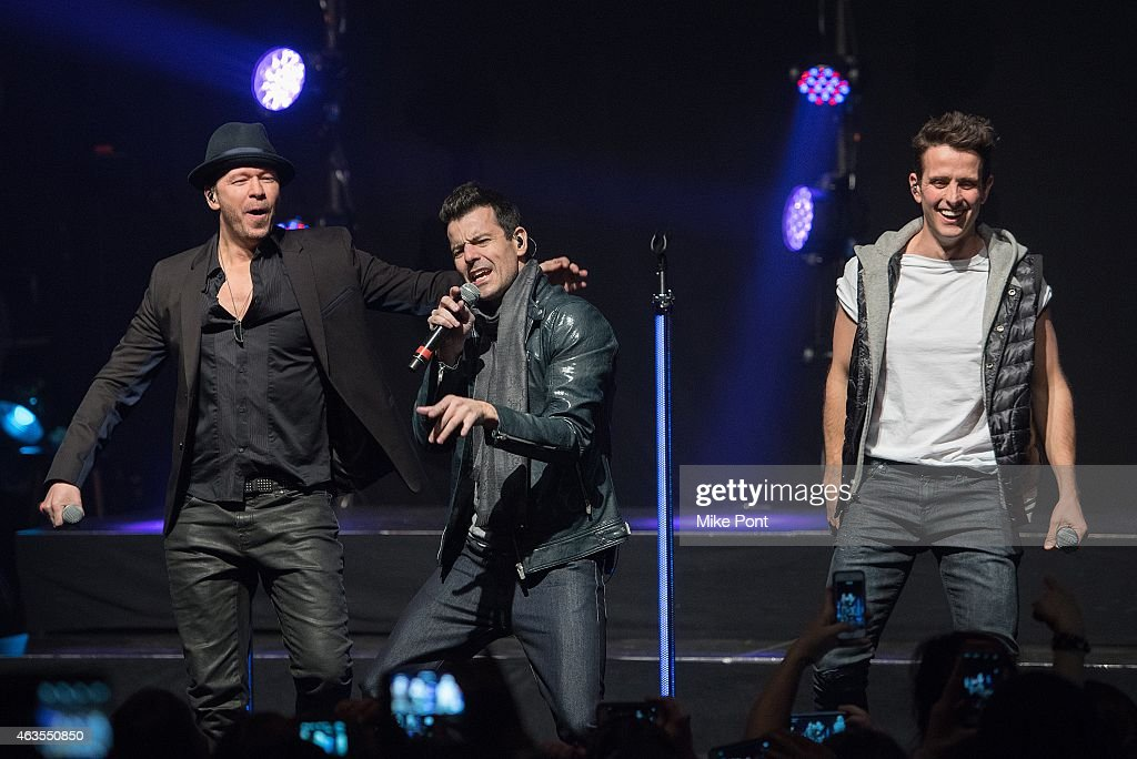 Donnie Wahlberg, Jordan Knight, and Joey McIntyre of the New Kids On The Block perform at the Gramercy Theatre on February 15, 2015 in New York City.