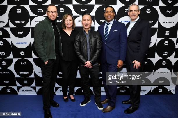 Donnie Wahlberg Nancy Duffy BD Wong Joey Jackson and CNN EVP Ken Jautz pose in the green room during the TCA Turner Winter Press Tour 2019 at The...