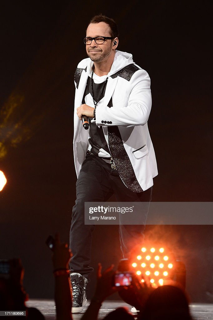 Donnie Wahlberg of New Kids On The Block performs during The Package Tour at BB&T Center on June 22, 2013 in Sunrise, Florida.