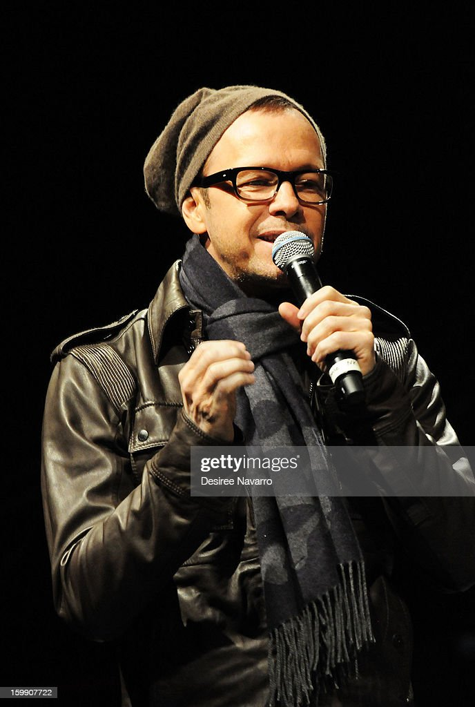 Donnie Wahlberg of the New Kids On The Block speaks during the New Kids On The Block Special Announcement at Irving Plaza on January 22, 2013 in New York City.