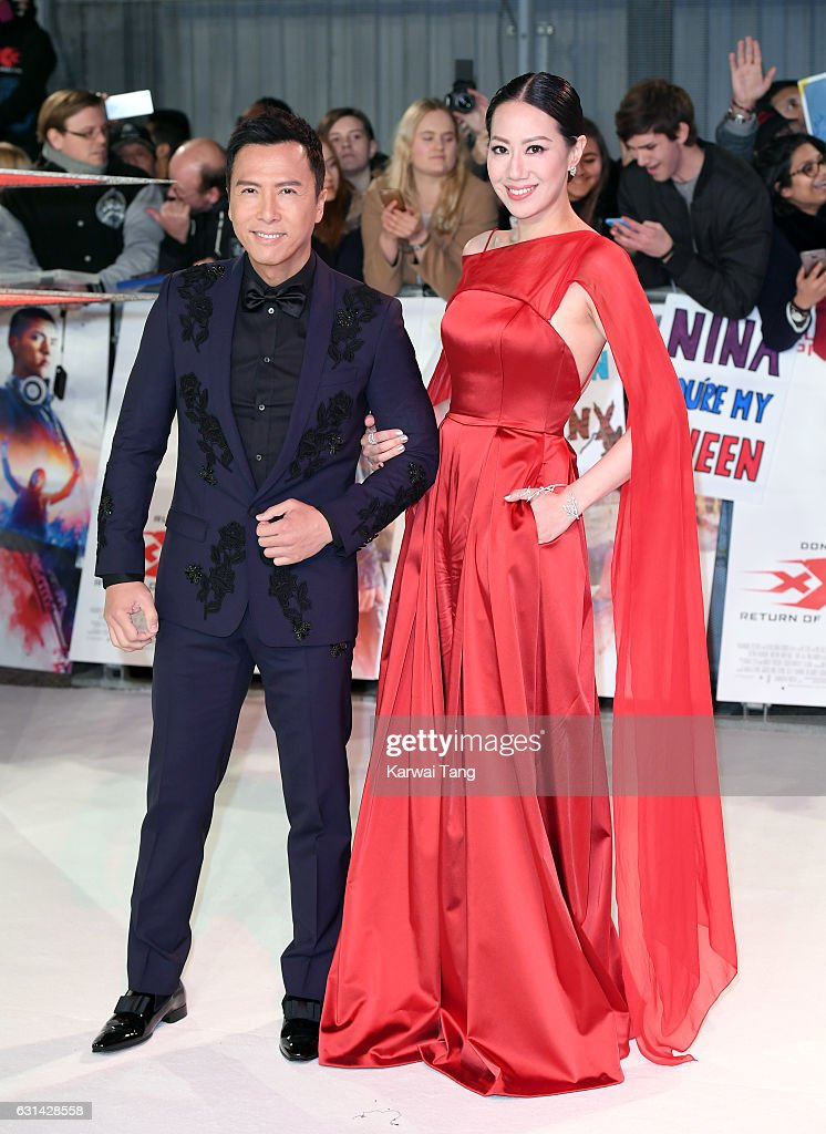 Donnie Yen and Cissy Wang attend the European premiere of 'xXx: Return of Xander Cage' at Cineworld 02 on January 10, 2017 in London, United Kingdom.