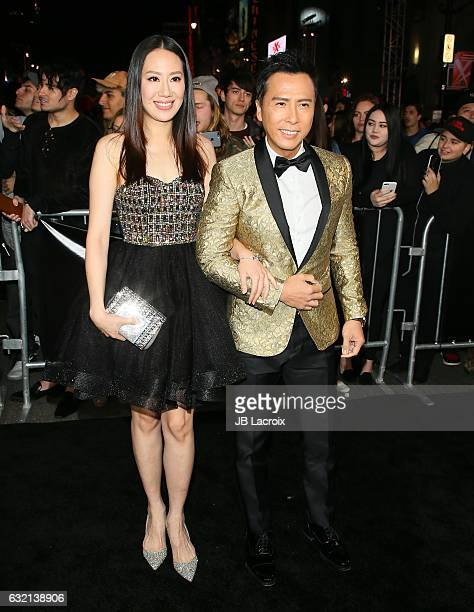 Donnie Yen and Cissy Wang attend the premiere of Paramount Pictures' 'xXx Return Of Xander Cage' on January 19 2017 in Los Angeles California