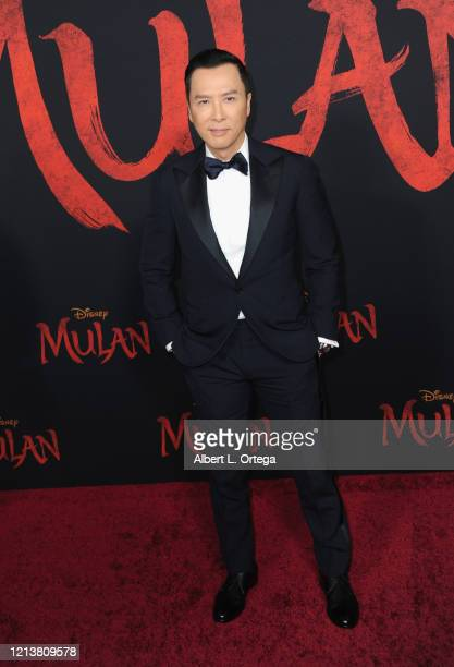 Donnie Yen arrives for the Premiere Of Disney's Mulan held at Dolby Theatre on March 9 2020 in Hollywood California