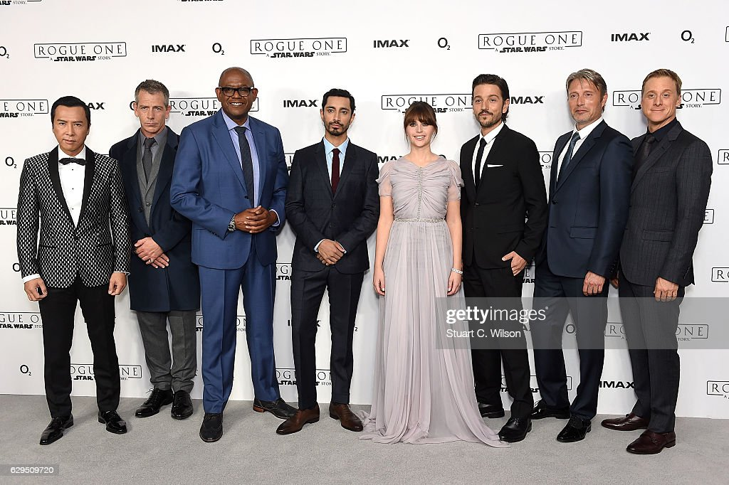 Donnie Yen, Ben Mendelsohn, Forest Whitaker, Riz Ahmed, Felicity Jones, Diego Luna, Mads Mikkelsen and Alan Tudyk attend the exclusive screening of Lucasfilm's highly anticipated, first-ever, standalone Star Wars adventure 'Rogue One: A Star Wars Story' at the BFI IMAX on December 13, 2016 in London, England.