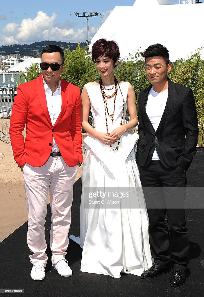 Donnie Yen, Eva Huang and Wang Boaqiang attend the 'Iceman Cometh 3D' Photocall and Press conference at the 66th Annual Cannes Film Festival on May 17, 2013 in Cannes, France.