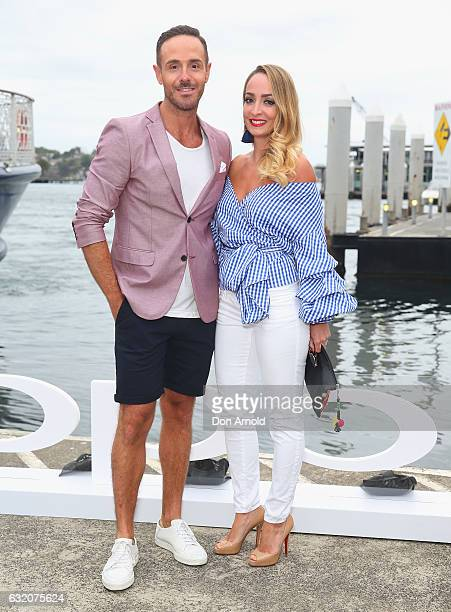 Donny Galella and Livia Sharpe arrive for the OPPO Smartphone R9s Launch on board Seadeck on January 19 2017 in Sydney Australia