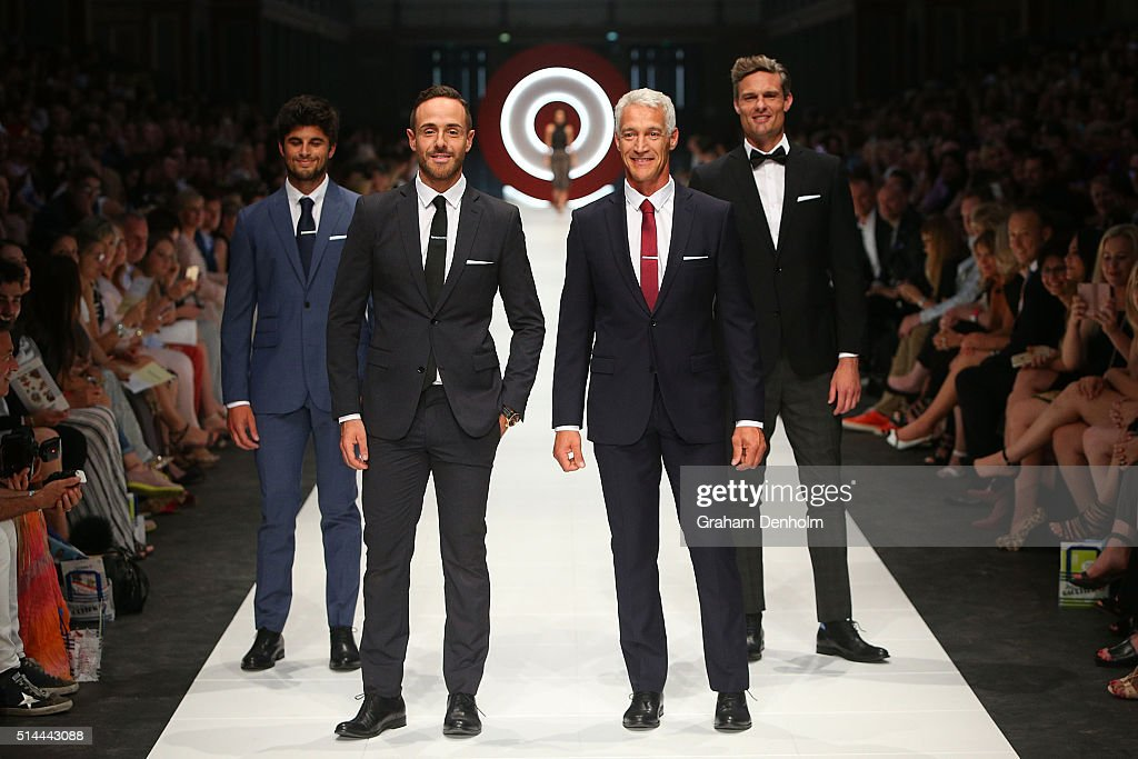 Donny Galella (2-L) showcases designs during the Jean Paul Gaultier x Target show during Melbourne Fashion Festival on March 9, 2016 in Melbourne, Australia.