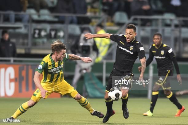 Donny Gorter of ADO Den Haag Lewis Baker of Vitesseduring the Dutch Eredivisie match between ADO Den Haag and Vitesse Arnhem at Kyocera stadium on...