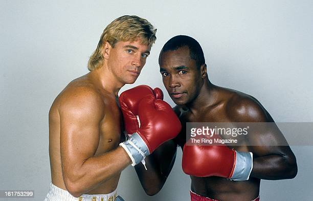Donny LaLonde and Sugar Ray Leonard pose for a portrait.
