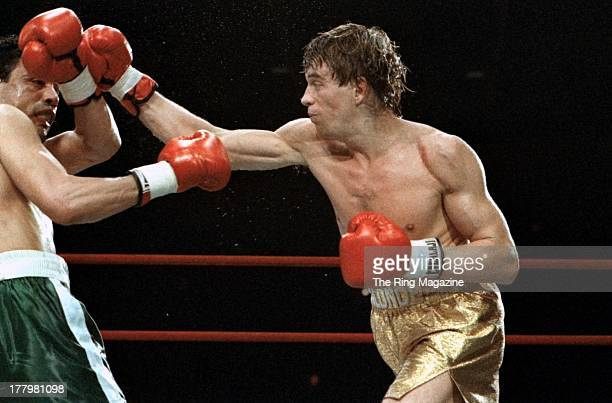 Donny Lalonde lands a punch against Mustafa Hamsho during the fight at the Felt Forum in New York, New York. Donny Lalonde won the vacant WBC...