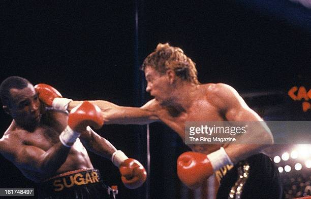 Donny Lalonde lands a punch against Sugar Ray Leonard during the fight at Caesars Palace in Las Vegas, Nevada. Sugar Ray Leonard won the WBC light...