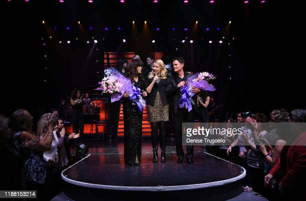 Donny Marie Osmond with Regional President of The Flamingo Las Vegas Eileen Moore Johnson during their final performance at Flamingo Las Vegas on...