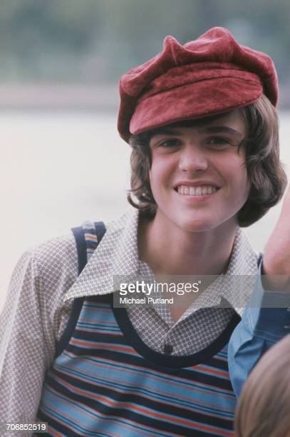 Donny Osmond American singer and member of American family group The Osmonds posed wearing a tank top and suede style cap in London in 1973