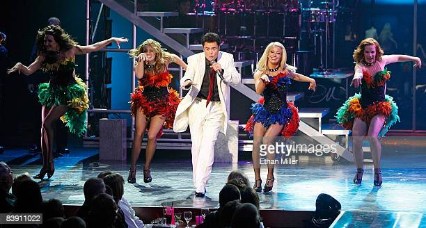 Donny Osmond performs with dancers in the Donny Marie variety show at the Flamingo Las Vegas December 3 2008 in Las Vegas Nevada