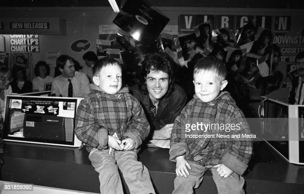 Donny Osmond signing autographs for Twins Sean and Darragh Lyons at the Virgin MegaStore in Tallaght Dublin circa October 1987