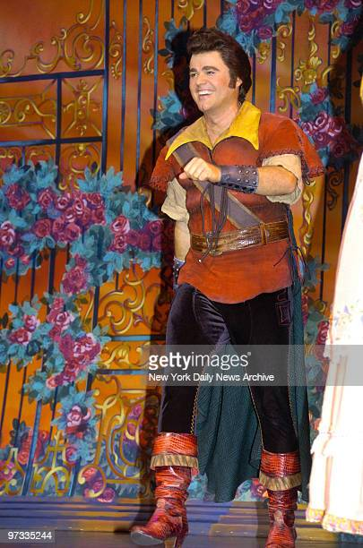 Donny Osmond takes a curtain bow following his opening night performance as Gaston in the Broadway musical Beauty and the Beast at the LuntFontanne...