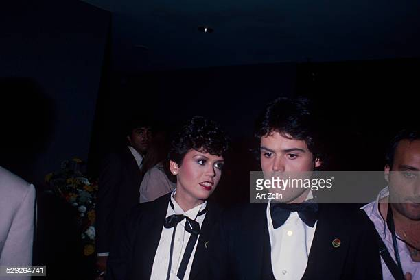 Donny Osmond talking to his sister Marie Osmond at a formal event circa 1970 New York
