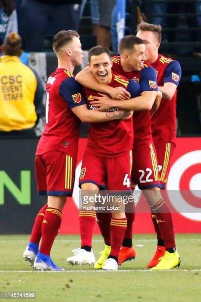 Donny Toia of Real Salt Lake and teammates celebrate a goal during the second half of a game against the Los Angeles Galaxy at Dignity Health Sports...