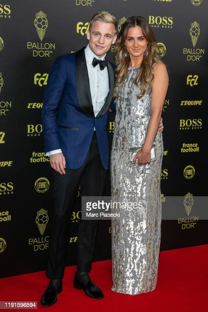 Donny Van de Beek and guest attend the photocall during the Ballon D'Or Ceremony at Theatre Du Chatelet on December 02 2019 in Paris France