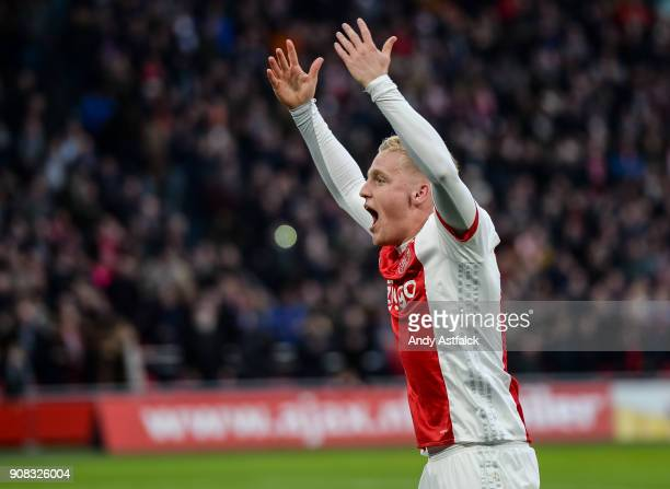 Donny van de Beek from AJAX celebrates a goal during the Eredivisie match between AJAX Amsterdam and Feyenoord on January 21 2018 in Amsterdam...