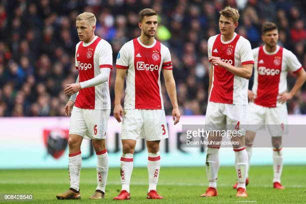 Donny van de Beek Joel Veltman Matthijs de Ligt and KlaasJan Huntelaar of Ajax looks on during the Dutch Eredivisie match between Ajax Amsterdam and...