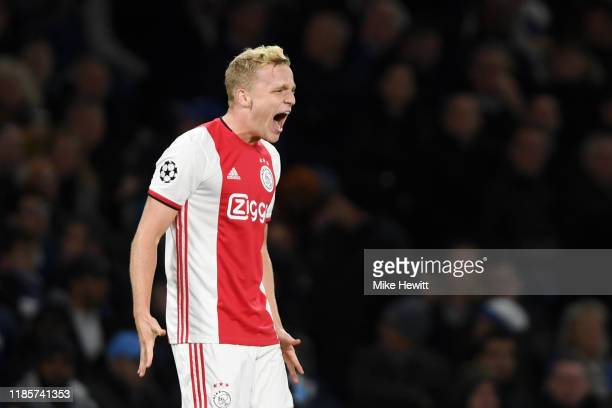 Donny van de Beek of AFC Ajax celebrates after scoring his team's fourth goal during the UEFA Champions League group H match between Chelsea FC and...