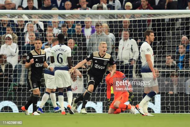 Donny van de Beek of AFC Ajax celebrates scoring the opening goal during the UEFA Champions League Semi Final first leg match between Tottenham...