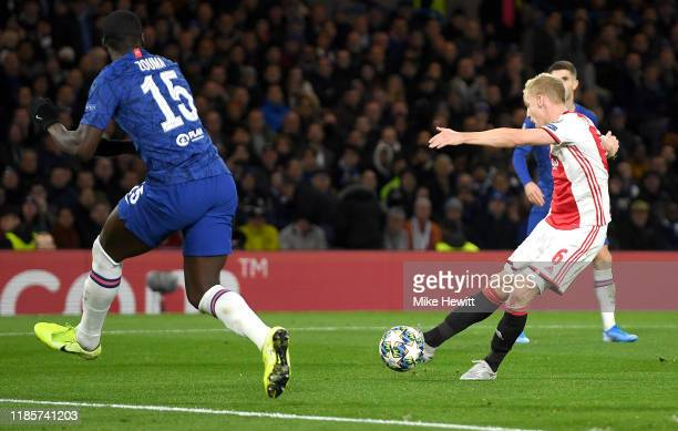Donny van de Beek of AFC Ajax scores his team's fourth goal during the UEFA Champions League group H match between Chelsea FC and AFC Ajax at...