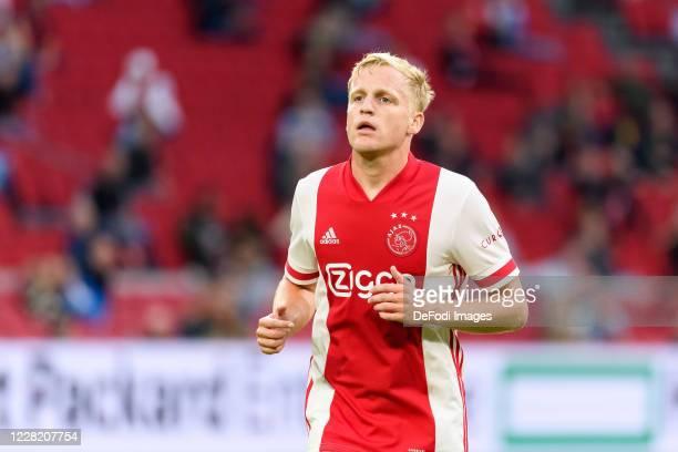 Donny van de Beek of Ajax Amsterdam looks on during the pre-season friendly match between Ajax and Hertha BSC Berlin at Johan Cruijff Arena on August...