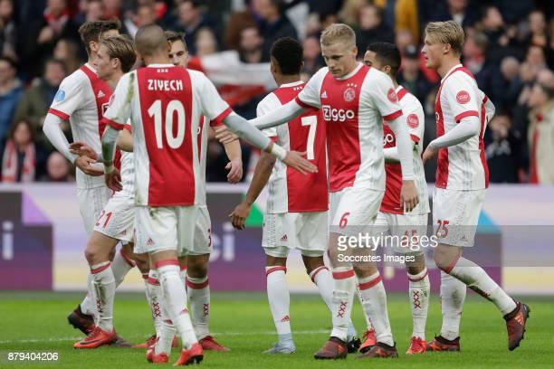 Donny van de Beek of Ajax celebrate 41 with Hakim Ziyech of Ajax during the Dutch Eredivisie match between Ajax v Roda JC at the Johan Cruijff Arena...