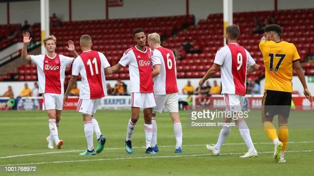 Donny van de Beek of Ajax celebrates 01 with Noussair Mazraoui of Ajax Frenkie de Jong of Ajax Klaas Jan Huntelaar of Ajax Noa Lang of Ajax during...