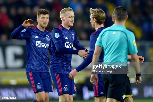 Donny van de Beek of Ajax celebrates 08 with Klaas Jan Huntelaar of Ajax Frenkie de Jong of Ajax during the Dutch Eredivisie match between NAC Breda...