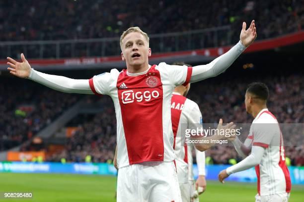 Donny van de Beek of Ajax celebrates 10 during the Dutch Eredivisie match between Ajax v Feyenoord at the Johan Cruijff Arena on January 21 2018 in...