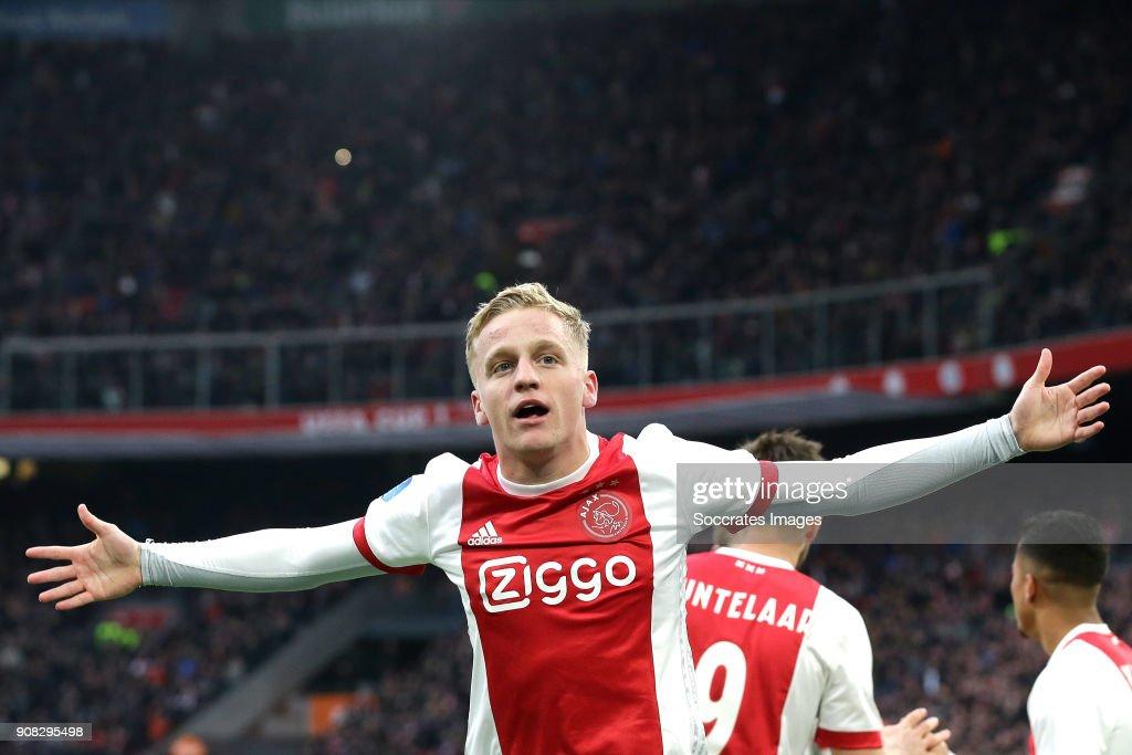 Donny van de Beek of Ajax celebrates 1-0 during the Dutch Eredivisie match between Ajax v Feyenoord at the Johan Cruijff Arena on January 21, 2018 in Amsterdam